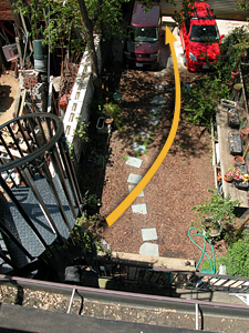 route from roof to car via spiral staircase