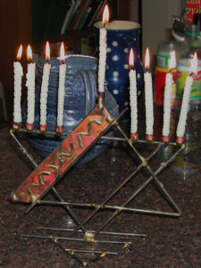 beeswax candles in menorah